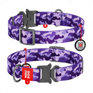 Ошейник для собак с рисунком Фиолетовый камо пряжка-фастекс Nylon WAUDOG