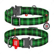 Ошейник для собак с рисунком Шотландка зеленая пряжка-фастекс Nylon WAUDOG