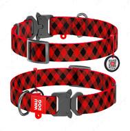 Ошейник для собак с рисунком Шотландка красная пряжка-фастекс Nylon WAUDOG