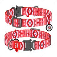 Ошейник для собак с рисунком Этно красный пряжка-фастекс Nylon WAUDOG