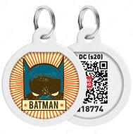 Адресник с QR кодом для кошек и собак круг рисунок бэтмен винтаж WAUDOG Smart Id
