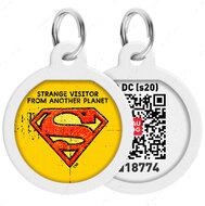 Адресник с QR кодом для кошек и собак круг рисунок супермен винтаж WAUDOG Smart Id