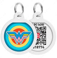 Адресник с QR кодом для кошек и собак круг рисунок чудо-женщина 1 WAUDOG Smart Id