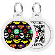 Адресник с QR кодом для кошек и собак круг рисунок супергерои логомания WAUDOG Smart Id