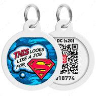 Адресник с QR кодом для кошек и собак круг рисунок работа для супермена WAUDOG Smart Id