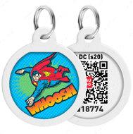 Адресник с QR кодом для кошек и собак круг рисунок полёт супермена WAUDOG Smart Id