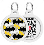 Адресник с QR кодом для кошек и собак круг рисунок бэтмен узор WAUDOG Smart Id