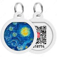 Адресник с QR кодом для кошек и собак круг рисунок водяные лилии WAUDOG Smart Id