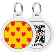 Адресник с QR кодом для кошек и собак круг рисунок сердца WAUDOG Smart Id