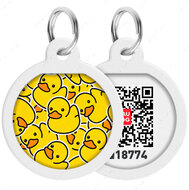 Адресник с QR кодом для кошек и собак круг рисунок уточки WAUDOG Smart Id