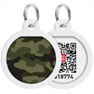 Адресник с QR кодом для кошек и собак круг рисунок камо зелёный WAUDOG Smart Id