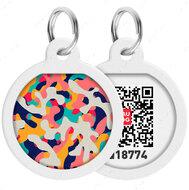 Адресник с QR кодом для кошек и собак круг рисунок камо разноцветный WAUDOG Smart Id