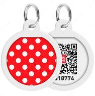 Адресник с QR кодом для кошек и собак круг рисунок горох WAUDOG Smart Id