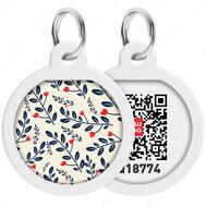 Адресник с QR кодом для кошек и собак круг рисунок растения WAUDOG Smart Id
