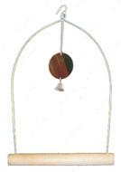 Деревянные качели для птиц, с зеркальцем и колокольчиком
