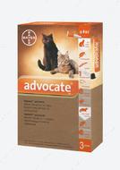 Адвокат Капли от глистов, блох и клещей  для кошек весом до 4 кг Advocate