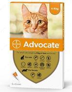 Капли от глистов, блох и клещей  для кошек весом до 4 кг Advocate