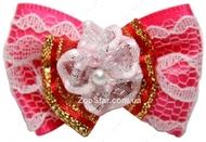 Бантик на резинке бело-розовый с жемчужной серединой 3,5 см
