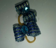 Бантик на резинке синий 3,5 см