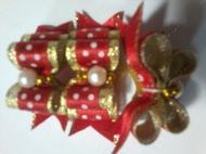 Бантик на резинке красный с жемчугом, 2 см