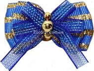 Бантик на резинке синий с золотом 3,5см