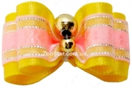 Бантик на резинке  желто-малиновый 2,5х1,5см