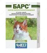 Капли инсектоакарицидные от блох и клещей для кошек Барс