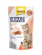 Хрустящие подушечки для кошек лосось+омега 3 и 6 NUTRI POCKETS Lachs + Omega 3&6