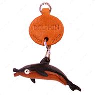 ДЕЛЬФИН, 3D брелок на ключи, натуральная кожа - 2,5х2,5х1см.