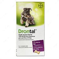 Дронтал таблетки с вкусом мяса для щенков и собак до 10 кг Drontal plus