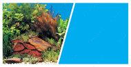 Двухсторонний фон Marina Double Sided Aquarium Backround 45см*7,5м растения с камнями - голубой фон
