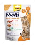 Лакомства для кошек хрустящие подушечки с начинкой Nutri Pockets Malt Vitamin Mix