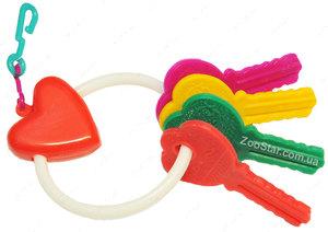 Игрушка для птиц ключи с сердечком на кольце
