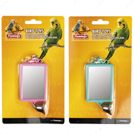 """MIRROR STRAIGHT+BELL"" игрушка для птиц, квадратное зеркальце с колокольчиком"