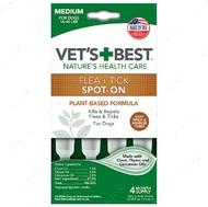 Капли от блох и клещей для собак от 7 кг до 18 кг Vet`s Best Flea + Tick Spot On Tubes Medium