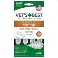Капли от блох и клещей для собак крупных пород от 18 кг Vet`s Best Flea + Tick Spot On Tubes Large