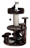 """Когтеточка с лежанкой и домиком """"EMIL"""" плюшевая, коричнево-бежевая, высота 96см"""