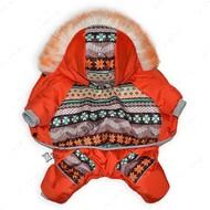 Комбинезон зимний для собак Орнамент Оранжевый Mr.БарBOSS