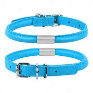 Круглый ошейник для собак с адресником голубой GLAMOUR WAUDOG