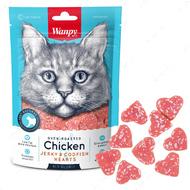 Лакомства для котов курица с треской Wanpy Chicken Jerky & Codfish Hearts