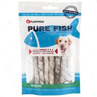 Лакомство для собак, трубочки из кожи трески Flamingo Fish Snack Natural Cod Skin Twist