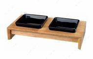 Миски керамические на деревянной подставке для собак Bowl Set, Ceramic/Wood