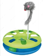 Игрушка для котов и кошек Трек с мячиком и мышкой на пружине Crazy Circle