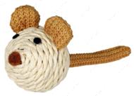 Мышь бумажная пряжа с погремушкой 5см