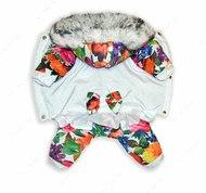 Комбинезон для собак Цветы на снегу на ФЛИСОВОЙ подкладке