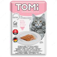 Консервы  для стерилизованных кошек и кастрированных котов, с говядиной TOMi Sterilised Beef in Jelly , пауч