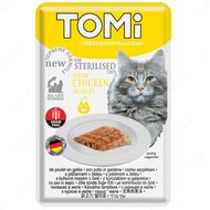 Консервы  для стерилизованных кошек и кастрированных котов, с курицей TOMi Sterilised Chicken in Jelly , пауч