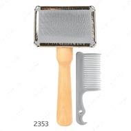 Набор щетка-пуходерка мягкая с деревянной ручкой + расческа
