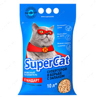 Супер кет стандарт древесный впитывающий наполнитель для котов SuperCat Standart
