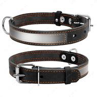 Ошейник со светоотражающей лентой для собак черный COLLAR
